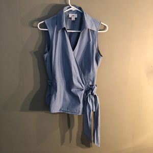 Blue pinstriped sleeveless wrap top